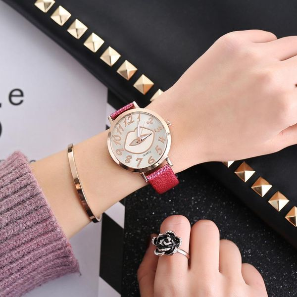 Fashion color changing lips bark belt watch NHHK143347