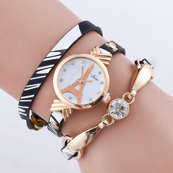Printed belt with rhinestone tower quartz bracelet watch NHSY143358