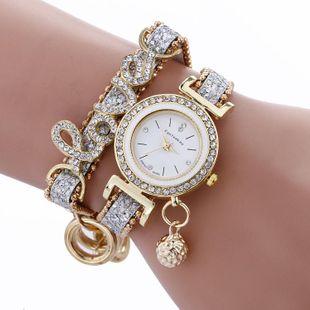 Creative alloy rhinestone LOVE bracelet watch NHSY143360's discount tags