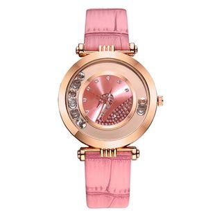 Fashion shiny flow ball quartz belt watch NHSY143383's discount tags
