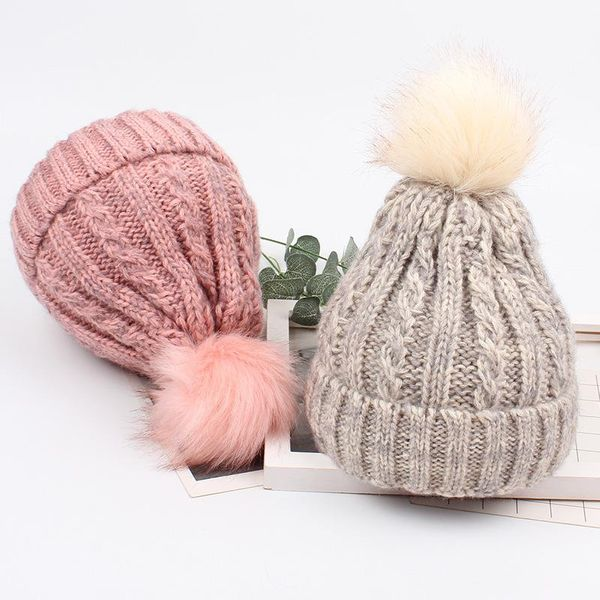 Korean version of the tide sweet and stylish cute hair ball knit hat NHXO143409