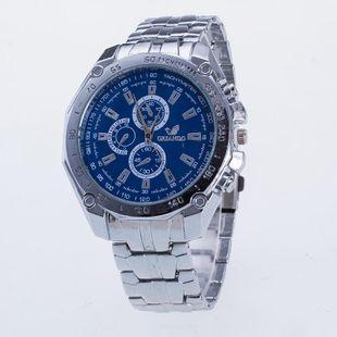 Fashion three-eye six-needle steel belt watch NHSY143439's discount tags