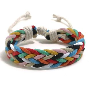 Colored wax line ethnic wind hand-woven bracelet NHPK143442's discount tags