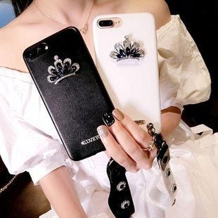 Creative iphone8plus leather case 7p rhinestone crown 6s female models lanyard NHJP143454 For iphone8plus's discount tags