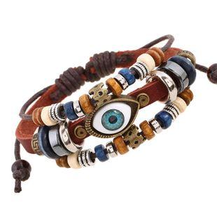European and American beaded eye cowhide leather bracelet NHPK143457's discount tags