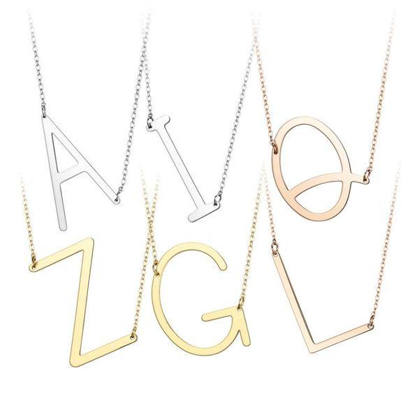 Nuevo collar de acero de titanio con 26 alfabeto inglés NHTP143476