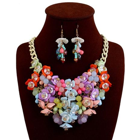 Mode exagérée couleur gemme fleur collier boucles d'oreilles bijoux ensemble NHVA143486's discount tags
