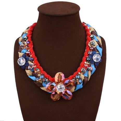 Collier de fleurs en cristal imité tissé à la main NHVA143489's discount tags