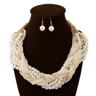 Conjunto de joyas pendientes de collar de perlas tejidas de múltiples capas de moda NHVA143491's discount tags