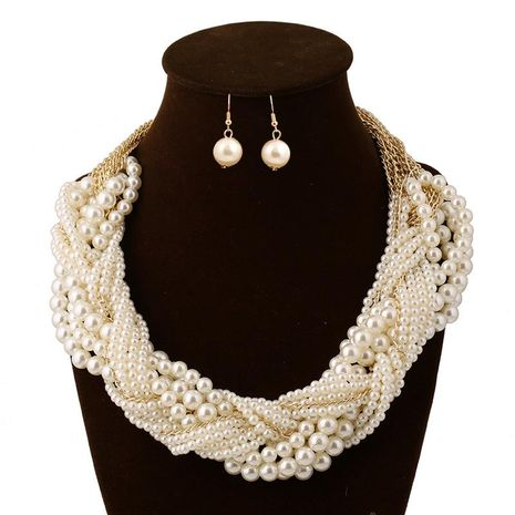 Fashion multi-layer beads woven necklace earrings jewelry set NHVA143491's discount tags