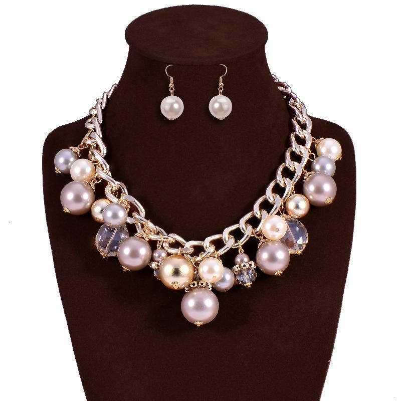 New beads necklace earrings jewelry set NHVA143492