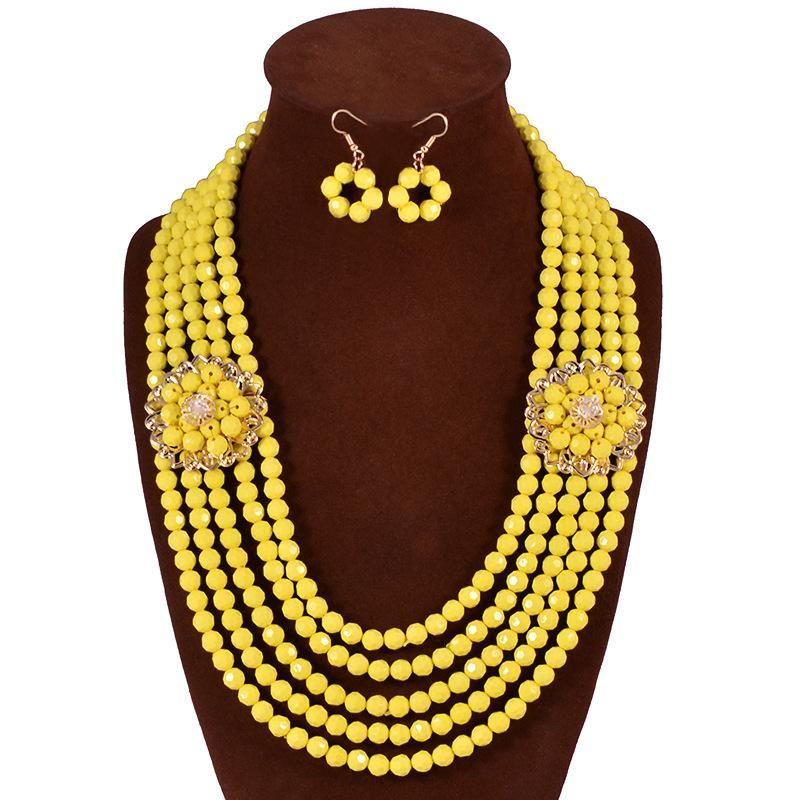 Fashion beaded necklace earrings jewelry set NHVA143504