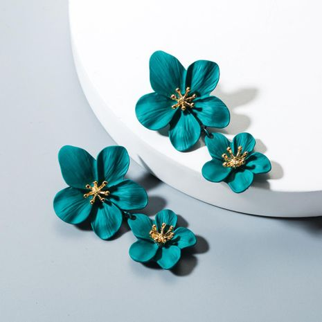 Fashion double flower earrings NHLN143521's discount tags