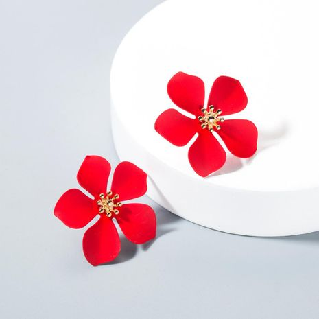 Fashion paint flower alloy stud earrings NHLN143524's discount tags