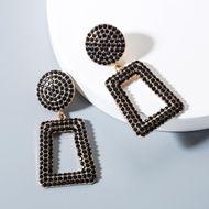 Vintage rhinestone geometric square earrings NHLN143542