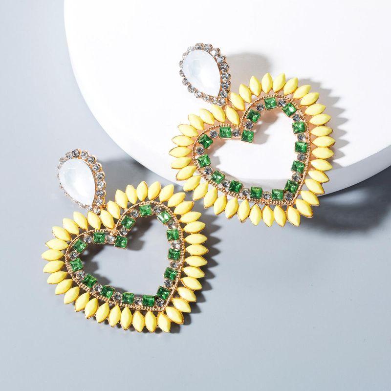aretes de diamantes de amor de acrílico de moda NHLN143543