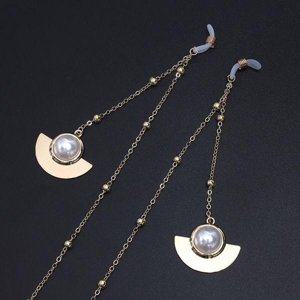 Scalloped Beads Beaded Glasses Chain Alloy NHBC143603