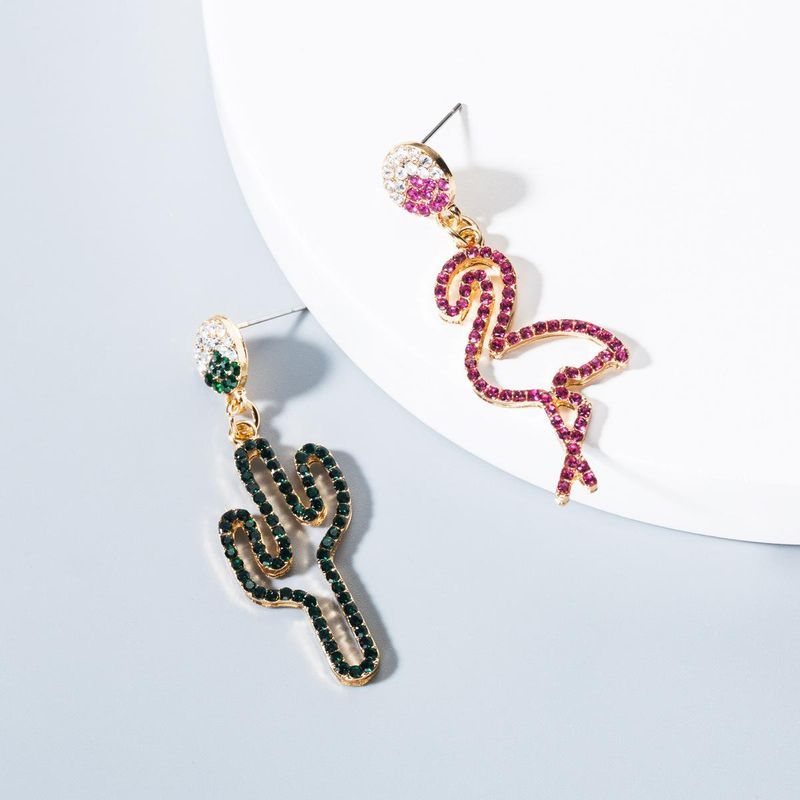 New color rhinestone cactus flamingo earrings NHLN143667