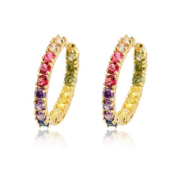 Fashion color zircon copper hoop earrings NHLN143671