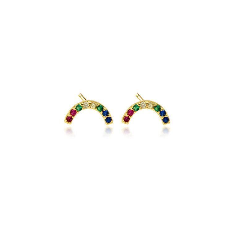 Fashion rainbow micro-set rhinestone stud earrings NHLN143673