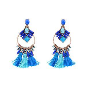 Pendientes de borla de moda con piedras preciosas azules NHQD143763's discount tags