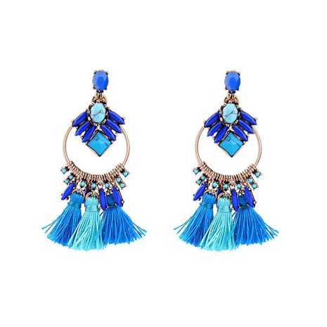 Fashion tassel treasure blue gemstone circle earrings NHQD143763's discount tags