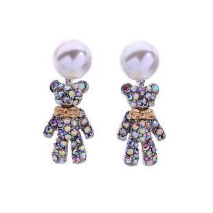 Temperament cute bear beads rhinestone earrings NHQD143854's discount tags