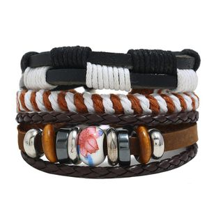 Vintage woven hemp rope beaded combination leather bracelet NHPK143860's discount tags