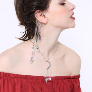 Long exaggerated stars and moon-studded earrings NHQD143867's discount tags