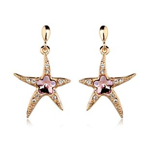 Stylish and beautiful starfish imitated crystal pendant earrings NHLJ143876's discount tags