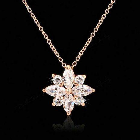Tempérament glace fleur pendentif zircon collier court NHLJ143882's discount tags