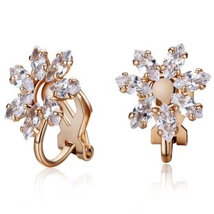 Korean version of the stylish zircon petals without ear clips NHLJ143887's discount tags