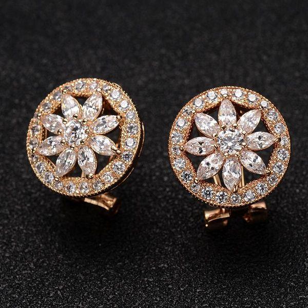 Stylish luxury inlaid Austrian imitated crystal high-end ear clips NHLJ143889