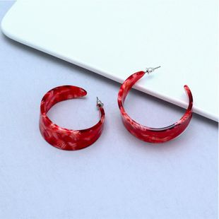 Explosive models of C-shaped acetate plate earrings NHNZ143909's discount tags
