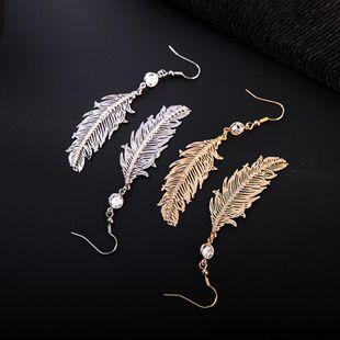 Fashion long zircon rhinestone feather earrings NHQD143912's discount tags