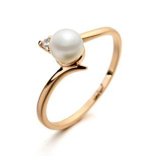 Moda simple anillo de perlas de mujer chapada en oro NHLJ143932's discount tags