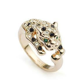 Stylish individual rhinestone-encrusted leopard head ring NHLJ143934's discount tags