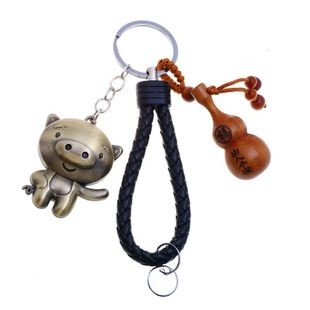 12 Zodiac Wood Gourd Braided Keychain Pendant NHPK143943's discount tags