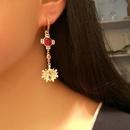 Long Austrian Imitated crystal Shell Sun Flower Stud Earrings NHLJ143847