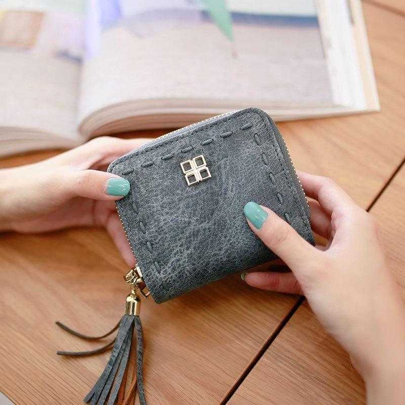 Vintage coarse linen threading tassel zip coin purse NHNI143981