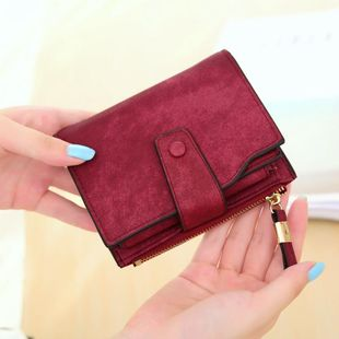 Simple solid color matte leather retro multi-card multi-function wallet NHNI144033's discount tags