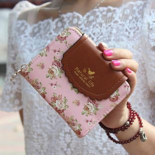 Stylish rural wind two fold cover flower zip wallet NHNI144138's discount tags