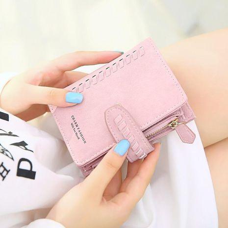 Version coréenne du portefeuille de lettres pliant en cuir PU mat uni de couleur unie NHNI144146's discount tags