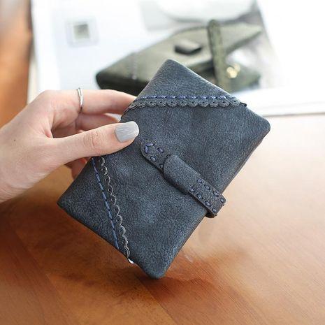 Porte-monnaie zippé court en cuir PU de couleur unie coréen NHNI144156's discount tags