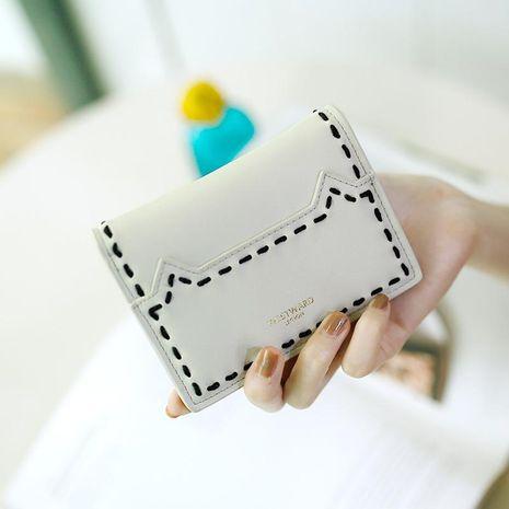 Portefeuille à deux volets ultra-mince fileté à surpiqûres simples NHNI144167's discount tags