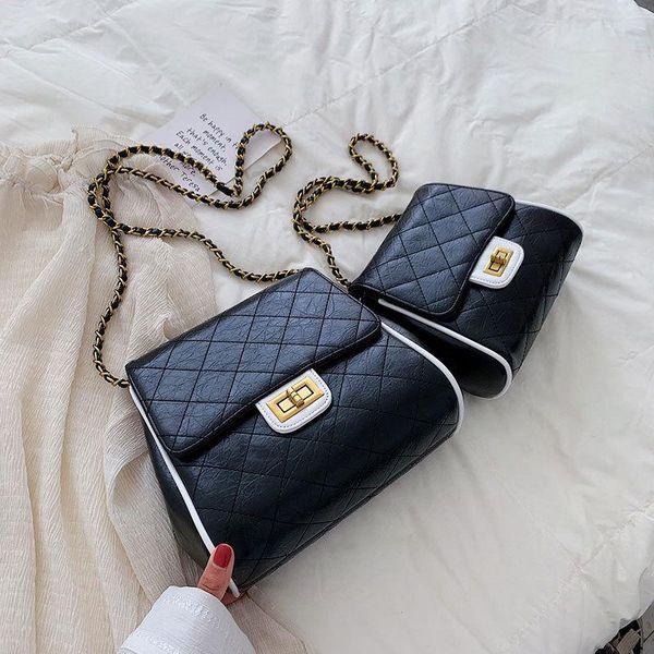 Fashion rhombic embroidery line small square bag NHXC144192