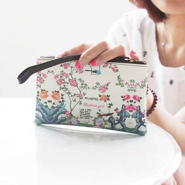 Cute illustration simple PU small hand bag utility phone bag NHNI144194