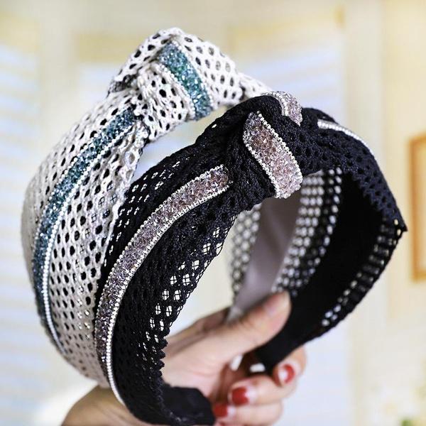 New rhinestone lace openwork wide headband NHOU144372