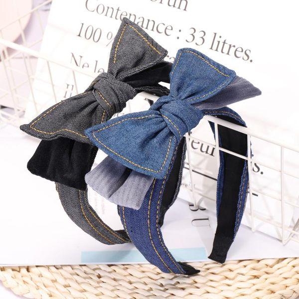 Fashion cute denim double bow headband NHOU144373