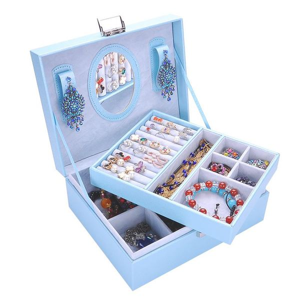 Fashion leather large jewelry box storage box multicolor NHHW144383